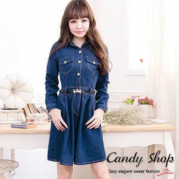 Candy小舖 春季襯衫率性甜美丹寧洋裝(預購+現貨)