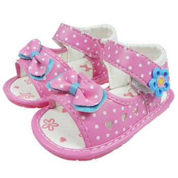 布布童鞋 鏤空愛心蝴蝶結粉色涼鞋 [OI2B15G ]