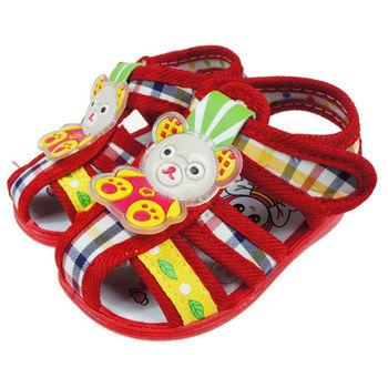 布布童鞋 俏皮小熊紅色涼鞋(嗶嗶鞋) [OI2A11A ]