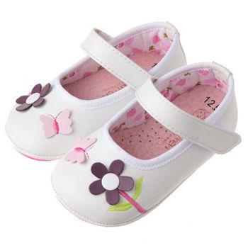 布布童鞋 蝴蝶小花純淨白淑女學步鞋 [OA8558M] 白色款