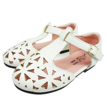 布布童鞋 精緻簍空雕花透氣舒適公主鞋 [NF1B40M ] 白色款