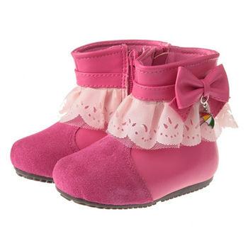 布布童鞋 Arnold Palmer雨傘牌蕾絲滾邊桃紅蝴蝶結皮革靴 [ML9128H ] 桃色款