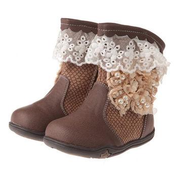 布布童鞋 古典蕾絲緹花內裡鋪絨皮革靴 [ML9114I ] 咖啡款