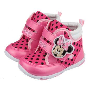 布布童鞋 Disney迪士尼米妮米老鼠粉色點點保暖毛絨中筒靴 [ML8601H ] 桃色款