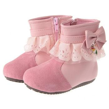 布布童鞋 Arnold Palmer雨傘牌蕾絲滾邊粉色蝴蝶結皮革靴( [ML8126G ] 粉紅款