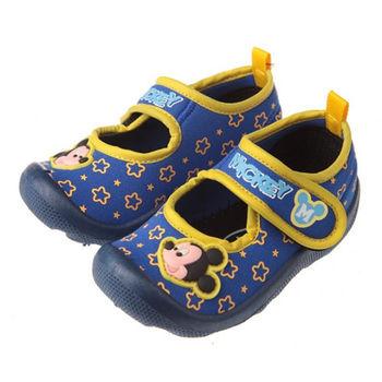 布布童鞋 Disney迪士尼米奇米老鼠彈性魔法佳積布藍色寶寶學步鞋 [MD9214B ] 藍色款