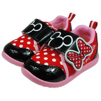 布布童鞋 Disney迪士尼米妮米老鼠紅黑色蝴蝶結點點休閒鞋 [MD9001A ] 紅色款