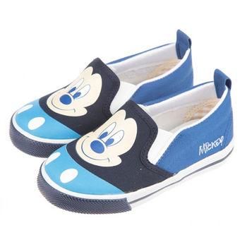 布布童鞋 Disney迪士尼米奇米老鼠活潑休閒藍色帆布室內鞋 [MD6610B ]