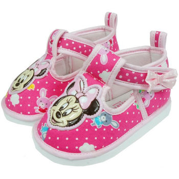 布布童鞋 Disney迪士尼米妮米老鼠點點布面軟底粉色寶寶學步鞋 [MA9203G ] 粉紅款