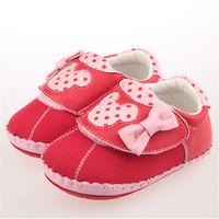 布布童鞋 Disney迪士尼米妮米老鼠紅色布面軟底蝴蝶結寶寶學步鞋 ^#91 MA7210