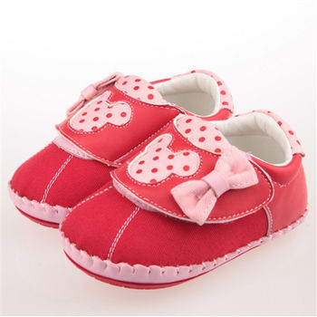 布布童鞋 Disney迪士尼米妮米老鼠紅色布面軟底蝴蝶結寶寶學步鞋 [MA7210A ] 紅色款