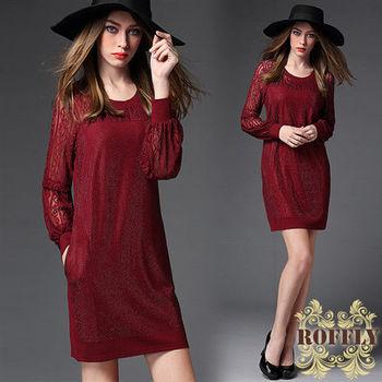 【ROFFLY蘿芙莉】9A16A08-中大尺碼-歐美性感透視蕾絲鑽飾點綴洋裝