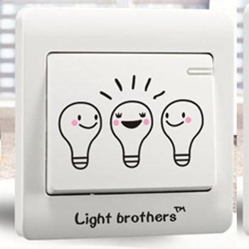 窩自在★DIY無痕創意牆貼/隨意貼-燈泡兄弟開關貼