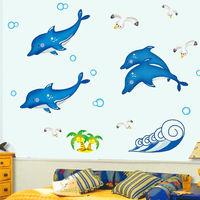 窩自在~DIY無痕 牆貼 ^#47 壁貼 ^#45 可愛小海豚 ^#95 ABQ7601Y