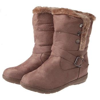 布布童鞋 簡約風格豹紋內裡卡其側排扣時尚中筒靴( [OL8928I ]