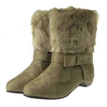 布布童鞋 個性鋪毛可拆式蝴蝶結裝飾卡其低跟短靴 [OL8818L ]