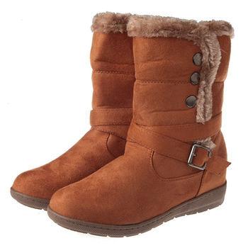 布布童鞋 簡約風格豹紋內裡棕色側排扣時尚中筒靴 [OL7928L ]