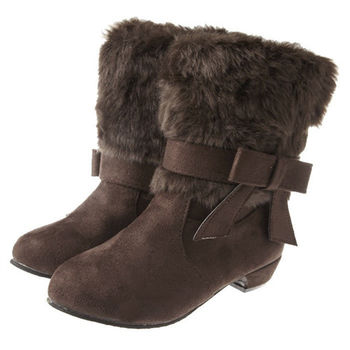 布布童鞋 個性鋪毛可拆式蝴蝶結裝飾咖啡低跟短靴 [OL7818I ]