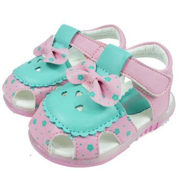 布布童鞋 韓風可愛粉色蝴蝶結電燈涼鞋 [OI4225G ]