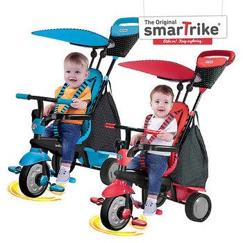 福利品-英國smarTrike史崔克英倫俏皮嬰幼4合1觸控三輪車(天空藍、櫻桃紅)
