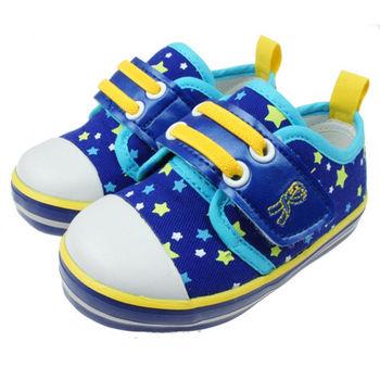 布布童鞋 Roberta諾貝達閃耀星星藍色防護帆布休閒鞋 [ CD1801B] 藍色款