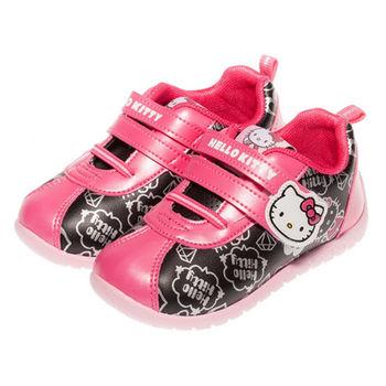 布布童鞋 HELLOKITTY凱蒂貓壓紋魔鬼氈運動鞋 [ CC3510D ] 黑色款
