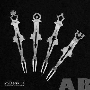 【Desk+1】西洋棋水果叉-四入組 (A+B)