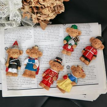 【ZARATA】英倫風立體泰迪熊造型冰箱磁力貼(4入)