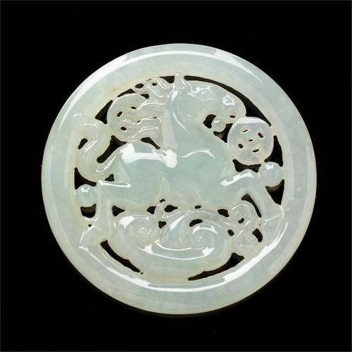 【限量極品】【雅紅珠寶】馬上有錢天然冰種翡翠玉墜子-馬,如意,古錢