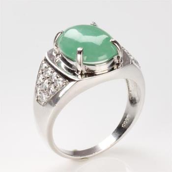 【雅紅珠寶】靜美如蓮天然綠翡翠玉戒指-#14
