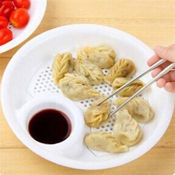 【ZARATA】創意可微波加熱-水餃水果瀝水雙層帶醋盤(白色)