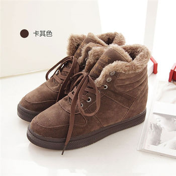 《DOOK》麂皮內增高絨毛滾邊休閒鞋-卡其(深咖)