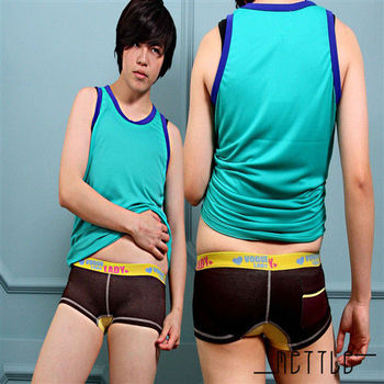 【METTLE】後口袋牛仔平口內褲(黃底咖啡)