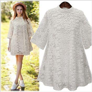 (現貨+預購 RN-girls)-歐美春夏季新款氣質優雅5分袖蕾絲長版上衣洋裝