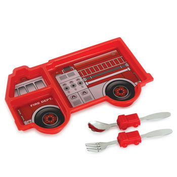 【KIDSFUNWARES】造型兒童餐盤組-消防車