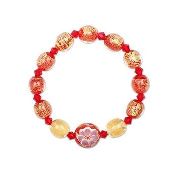 【國立故宮博物院】黃金牡丹琉璃手環紅