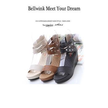 【bellwink】B9121圓鉚釘露趾後拉鍊平底涼鞋-黑色/白色/駝色
