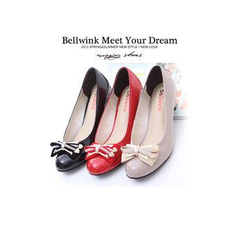 【bellwink】B9114雙層閃鑽金屬朵結低跟鞋-紅色/白色