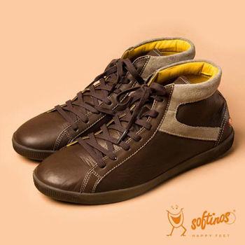 Softinos(男)☆暖男品味雙拼接綁帶休閒低筒鞋 - 深咖/黃