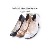 ~bellwink~B9113格紋雙金屬扣環低跟鞋 ^#45 黑色 ^#47 白色 ^#4