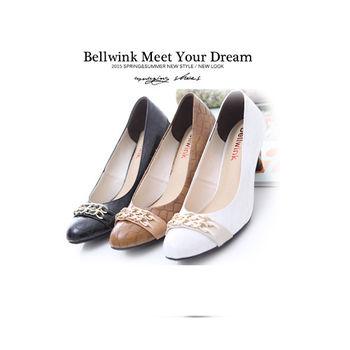 【bellwink】B9113格紋雙金屬扣環低跟鞋-黑色/白色/棕色