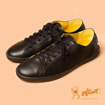 Softinos(男)☆簡約品味牛皮綁帶休閒鞋 - 品味黑