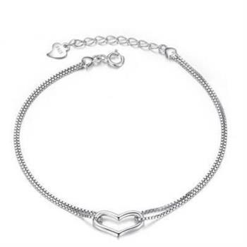 【米蘭精品】925純銀手鍊手環精美心型