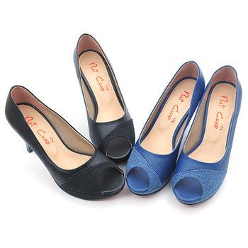 【cher美鞋】8912 異材質拼接露趾高跟.(黑/藍2色)  8912-73