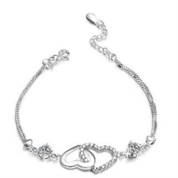【米蘭精品】925純銀手鍊手環唯美雙心