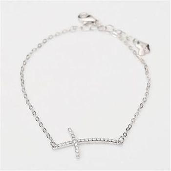 【米蘭精品】925純銀手鍊手環經典時尚十字