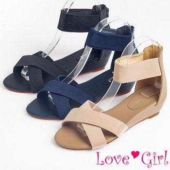 ☆Love Girl☆輕日系交叉緞面環裸小坡跟羅馬鞋