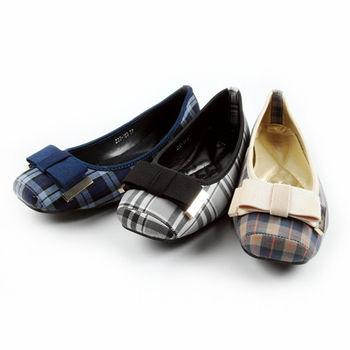 【Moscova】OL必備。蝴蝶結格紋布面方頭低跟鞋