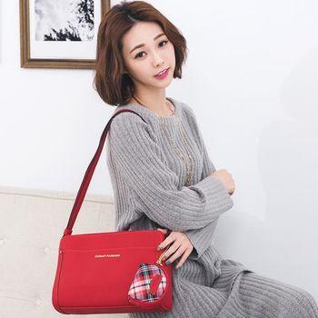 【金安德森】茶花女 優雅收納三夾層隨身側背包-金心大紅
