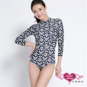 天使霓裳 泳衣 幾何時尚 連身長袖防曬泳裝(黑白M~XL )